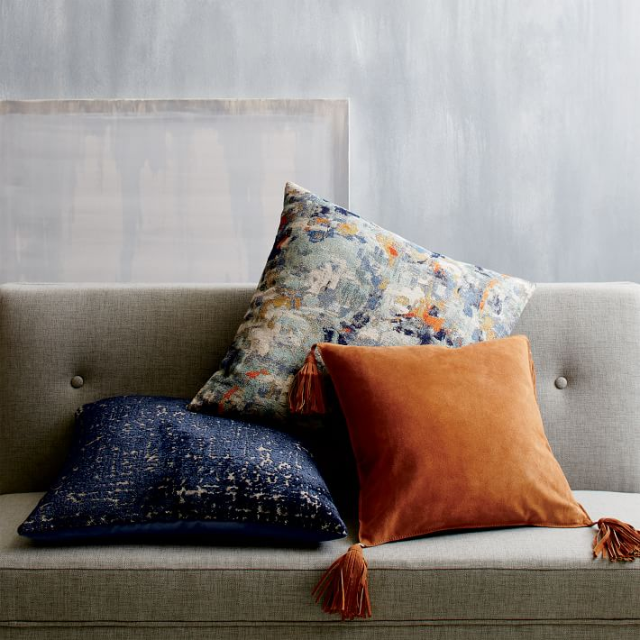 Photo 8 suede tassel pillow